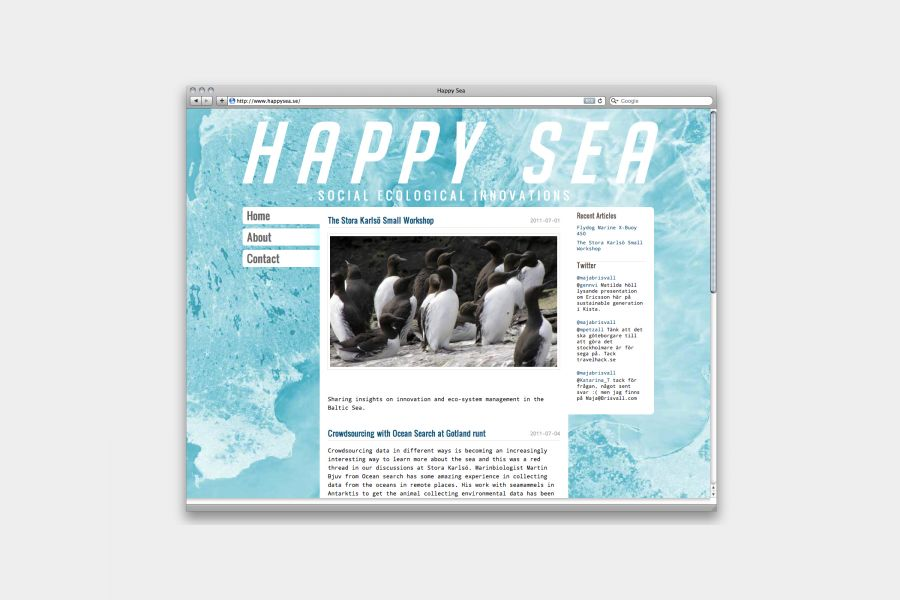 An initiative from Stockholm University resulted in Happy Sea. A network aiming to bring together the enormous amounts of academic and practical knowledge around the Baltic Sea, to find sustainable solutions for the region.Go to website... by Johan Hemgren